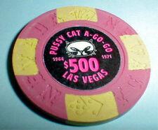 $500 Chip Pussy Cat A-GO-GO Casino Las Vegas Nevada Borland 1964-1971