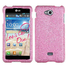 For MetroPCS LG Spirit 4G Crystal Diamond BLING Hard Case Phone Cover Pink