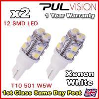 2x 501 CAPLESS 12V INTERIOR LIGHT LED BULB XENON WHITE