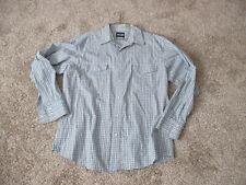 Men's Vintage Western Shirt Size XL Blue Plaid Wrangler Brand