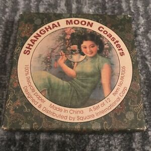 Vintage Shanghai Moon Coasters Set Of 12 Different Chinese Poster Art Images