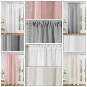 TAHITI Plain Pom Pom Edge Trim Voile Net Curtain Slot Top Voile Single Panel
