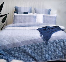 100% Quilted Cotton Super King Quilt Cover Set MERIDIAN BLUE White Doona Duvet