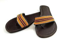 Women's Sandals African Handmade Leather Beaded Tribal Maasai Size 40 US 9 Slide