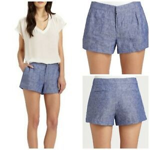 "Joie Women's Merci Linen Blue Chambray Shorts 3"" Inseam Pockets Sz 4"