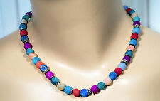 Netz Achat Kugeln Collier Regenbogen Kette bunt! colorful web agate beads collar