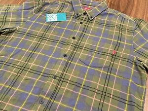 SUPREME FLANNEL PLAID L/S BUTTON-UP SHIRT GREEN PURPLE PINK YELLOW BOX LOGO M