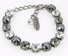 Cup Chain Black White & Grey Bracelet made w/ Black Diamond Swarovski Crystals