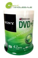 100 SONY Blank 16X DVD+R Plus R Silver Logo Branded 4.7GB Cake Box w Spindle