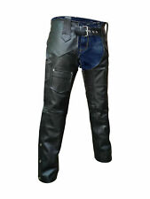 Men's Black Genuine Leather Chaps Biker pants
