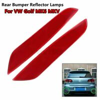 Left & Right Rear Bumper Reflector Light Red Lens Cover For VW Golf Mk6 2009-13