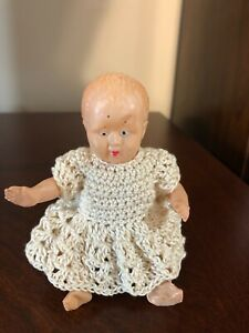 """VINTAGE CELLULOID MINIATURE BABY DOLL  Moveable Arms Legs 5"""""""