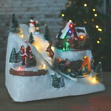 Animated LED Christmas Village Scene With Snowman Decoration Musical Pre Lit