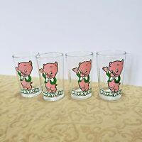 Vtg 1976 Warner Bros Porky Pig  Looney Tune Cartoon Jelly Jar Glass Welchs Lot 4