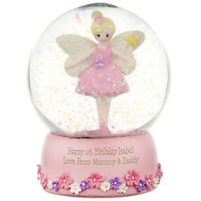 PERSONALISED FAIRY PRINCESS SNOW GLOBE - GIRLS 1st BIRTHDAY GIFT IDEA Any Age