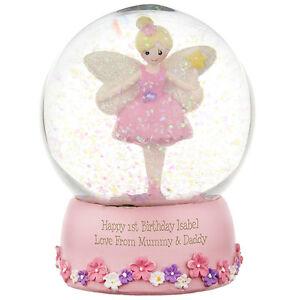 PERSONALISED FAIRY PRINCESS SNOW GLOBE - GIRLS 1st BIRTHDAY GIFT IDEA Any Age