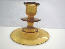 AMBER GLASS TAPER CANDLE HOLDER  - VINTAGE - EXCELLENT CONDITION