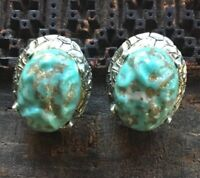Vintage Signed Tara Faux Turqpise Silver Tone Clip Earrings