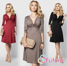 Womens Sexy Skater Dress V Neck 3/4 Sleeve Cocktail Party Plus Sizes 8 - 18 FM15