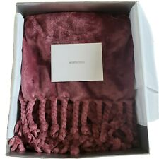"""NWT NORDSTROM Home Faux Fur Throw Blanket 50""""×60"""" VERY SOFT Mauve Pink Burgundy"""