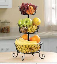 New Kitchen Fruit Basket Rack 3 Tier Holder Storage Organizer Stand Wire, Black