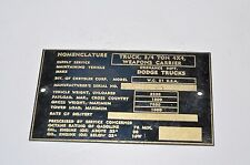Dodge WC 51 Nomenclature Data plate BRASS NOS Weapons Carrier