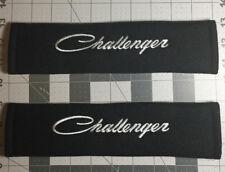 Dodge Challenger Script Design Embroidered Black Seat Belt Cover Set NEW Item!