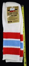 "Vtg Wigwam Super Tube Socks White Red Blue Striped 9-15 -Hi Bulk Orlon 24"" USA"