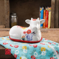NEW The Pioneer Woman Cow Butter Dish Flea Market, Floral Decorated