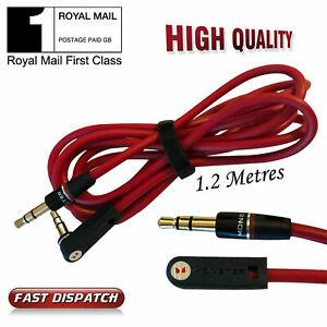 1.2M RED 3.5mm-Jack-Plug-To-Plug-Male-Cable-Audio-Lead-Headphone-iPod-Aux-MP3