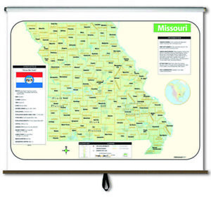Missouri Large Scale Shaded Relief Wall Map on Roller
