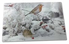 More details for snow mouse and robin print extra large toughened glass cutting, chopp, amo-5gcbl