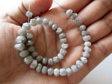 """16"""" Perfect Natural RoundRaw Bead 4-5mm Grey/White Rough Rondelle 7-4mm DdS205/1"""