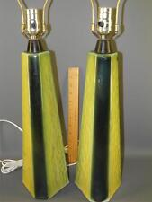 VINTAGE MID-CENTURY MODERN PAIR GLAZED POTTERY TABLE LAMPS YELLOW & GREEN
