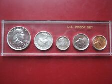 USA US 1962 Proof 5 coin set Cent - Silver Franklin Half Dollar in plastic case