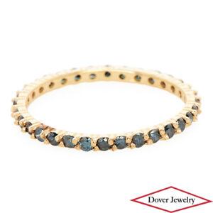 Estate 0.50ct Blue Diamond 14K Gold Eternity Ring NR