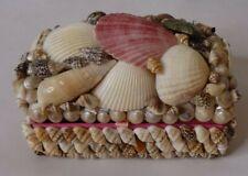 "Sea Shell Trinket Jewelry Box Nautical Ocean Decor Seashells 5"" x 3"" Felt Lined"