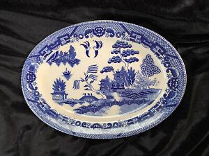 """Blue Willow Large Platter Vintage Japan Serving Dish 12.5"""""""