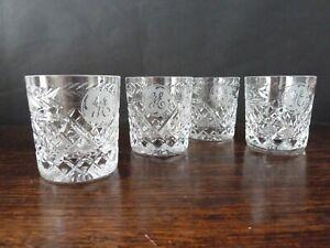 4 Stuart Crystal Cheltenham Cut Whisky Tumblers  Glasses With Monogram h8,3cm