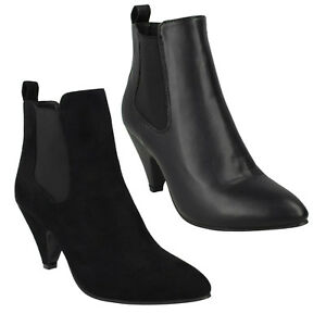 SPOT ON F5R0899 LADIES HIGH HEEL ANKLE CHELSEA STYLE WARM WINTER BOOTS GUSSET