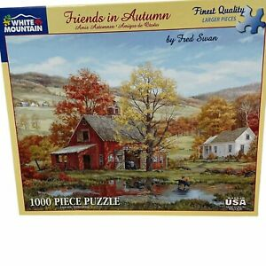 White Mountain Puzzle Friends in Autumn Fred Swan 1000 Piece