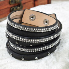 ❦ Armband SARAH Leder (Schwarz) 18 mm Druckverschluß Strass & Nieten XXS-XS ❦