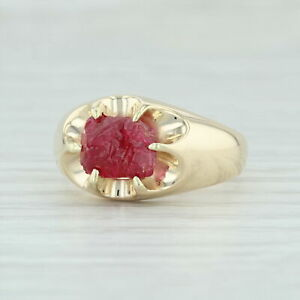 Vintage 3.54ct Mogok Ruby Ring 14k Yellow Gold Size 8.75 Rough Cut Solitaire