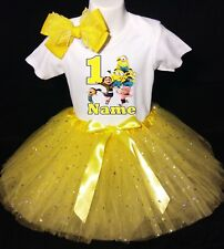 Minions -With NAME-1st Birthday Dress shirt 2pc Yellow Tutu outfit Despicable Me