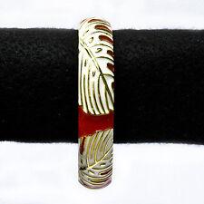 White Monstera leaf design on Red Glossy Enamel Hinged Bracelet jewelry