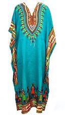 Beautiful African Blue Kaftan Free Size Maxi Dress Beach Casual Evening Wear