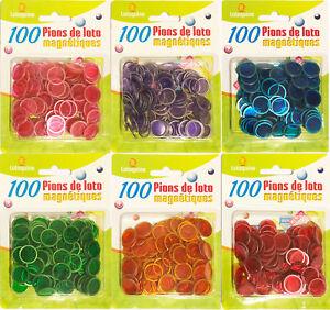 100 Pions de Loto Magnétiques Bingo Jetons Aimantés 5 couleurs 17,4 mm Recharge