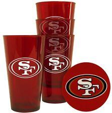 San Francisco 49ers Plastic Pint Glass - Set of 4 [NEW] NFL Cup Mug Coaster Bar
