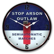Retro Nostalgic Stop Arson Led Lighted Backlit Man Cave Wall Clock New