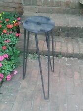 """Raw Industrial 28"""" Steel  Hairpin Tripod Table Base - Round Leg - Beeswax"""